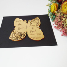 Customized 140*120mm Laser cut Wedding Invitation Engraved golden mirror Acrylic wedding Save the Date cards (1lot=100pcs)
