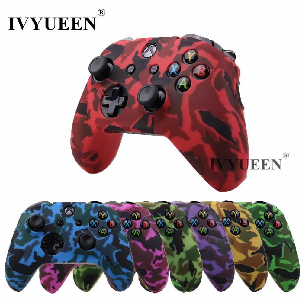 IVYUEEN Silicone Protective Skin Case for XBox One X S Controller Protector Water Transfer Printing Camouflage Cover Grips Caps protective silicone cover case for xbox 360 controller camouflage light green