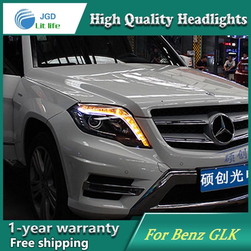 высокое качество чехол стайлинга автомобилей для Audi 2012-2015 светодиодные фары для фар ГЛК LED объектив фар DRL двойной Луч HID