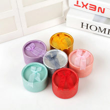 Diameter 5.5cm Round Shaped 6 colors Paper Ring Box Organizer Jewelry Display Storage Wedding Rings Gift box(China)