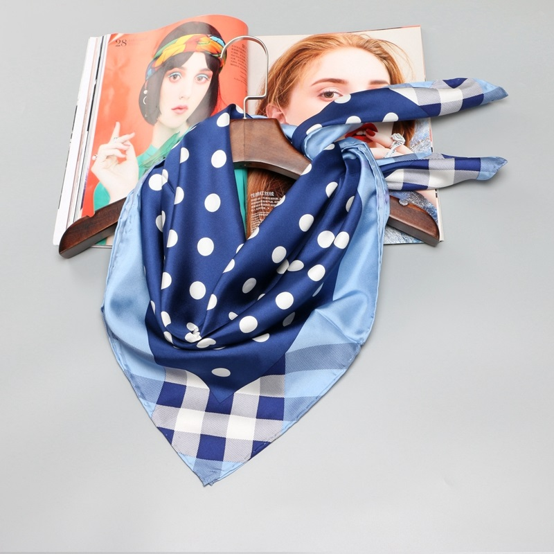 Polka Dot Plaid Print 100% Silk Twill   Scarf     Wraps   Hijab Large Square Silk Scarfs Shawl Hand Rolled 90*90 Female Gifts