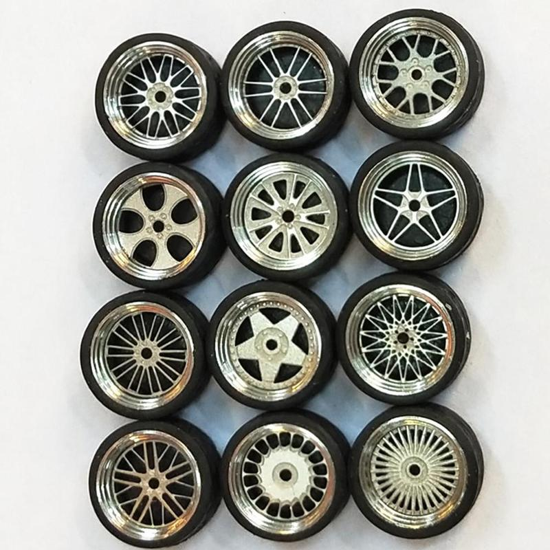 1 Set 1/64 Scale Alloy Wheels Tire 1:64 Diecasts Alloy Wheel Tire Rubber Toy Vehicles General Model Of Car Change Accessories
