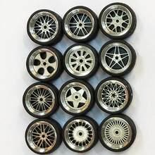 Jeu de roues en alliage échelle 1/64, pneus 1:64, roues en alliage moulé sous pression en caoutchouc, véhicule jouet, modèle général de changement de voiture, accessoires