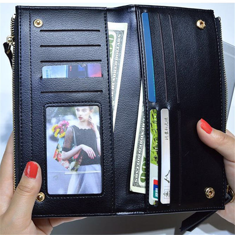 New Women Leather Purse Checkered Wallets Long Ladies Colorful Walet Red Clutch 10 Card Holder Coin Bag Female Zipper Purse Girl in Wallets from Luggage Bags