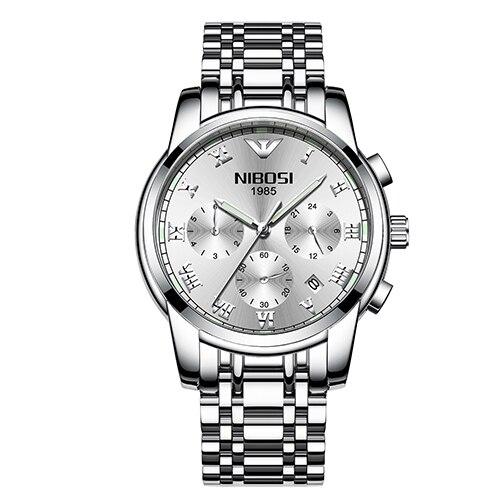NIBOSI Luxury Watch Men Style Stainless Steel Band Watch Sport Waterproof Quartz Wristwatch migeer 2009 trendy steel band men quartz watch