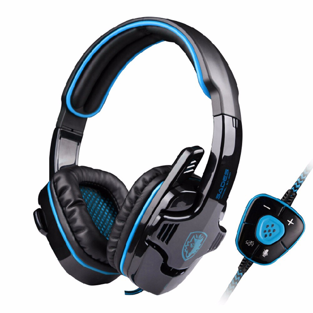 Hot sale SADES SA-901 USB 7.1 surround Game Gaming headset headband Over-ear headphone with Microphone deep bass for PC laptop led bass hd gaming headset mic stereo computer gamer over ear headband headphone noise cancelling with microphone for pc game