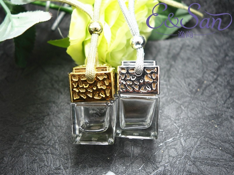 FMS014 6ML Silver and Gold Refillable Square Bottle with A Cover Car Ornaments Perfume Bottle Glass