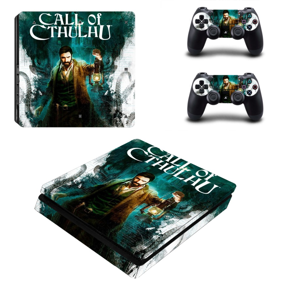 New PS4 Slim Decal Protective Skin Cover Sticker for Playstation 4 PS4 Slim Console & Controller Skin - Game Call of Cthulhu