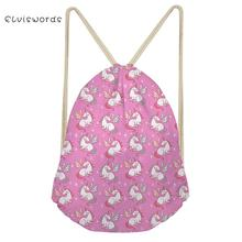 ELVISWORDS Adorable pretty Unicorn Pattern Small Women Backpack Travel Female Drawstring Girls Bookpack Casual Storage Pocket