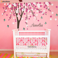 Tree Branches Flower And Butterfly Vinyl Wall Stickers removable Home decor For Living Room Baby Nursery Bedroom Home Decor