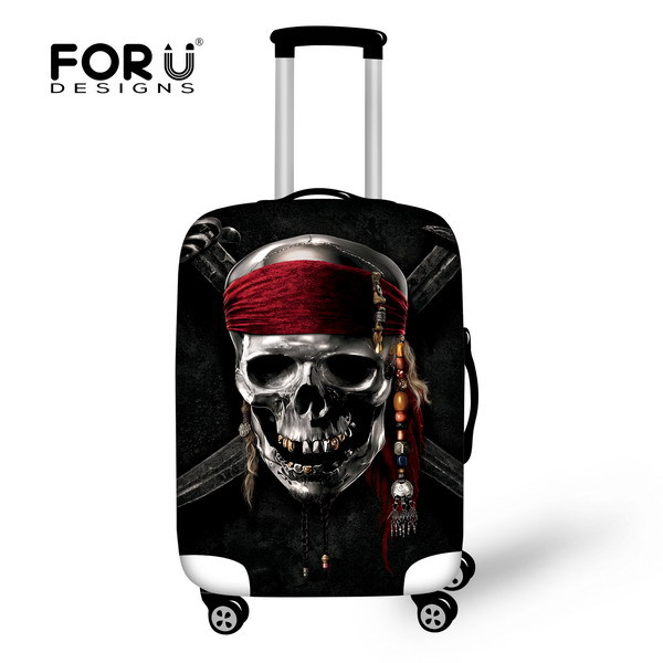 FORUDESIGNS Travel Luggage Cover Cool Skull Luggage Suitcase Covers Fashion Travel Dustproof Cover For 18-28 Inch Suitcase Cover