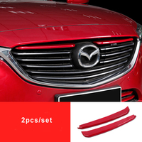 KOUVI Red ABS Chrome Car front grille trims for Mazda 6 Atenza 2017 2018 Front Bumper Air inlet Grille Accessories
