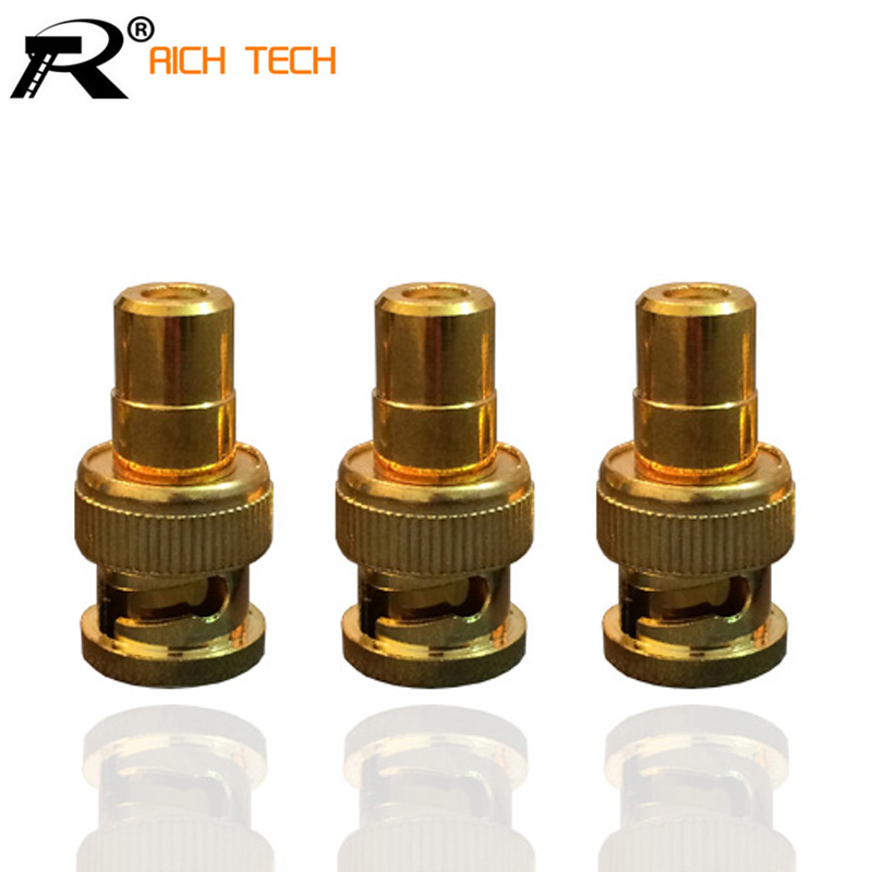 3PCS/LOT DELUXE GOLD-PLATED BNC CONNECTOR HIGH QUALITY BNC MALE TO RCA FEMALE ADAPTER FOR CCTV SYSTEM 3 5mm male to female gold plated copper adapter silvery white golden