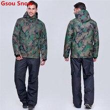 Winter Gsou Snow ski suit for men snowboard jacket men snow pants esqui traje ski hombre