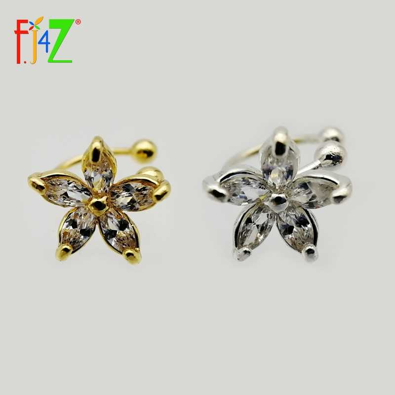 Clearance sale Fashion Ear Cuff Golden /Silver hollow mini lovely zircon flower No Pierced Clip Earrings Ear Cuff For Women