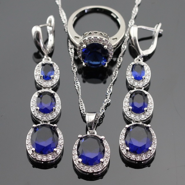 Blue Created Sapphire Silver Color Jewelry Sets For Women Wedding Silver Color Necklace Pendant Long Earrings Rings Gift Box