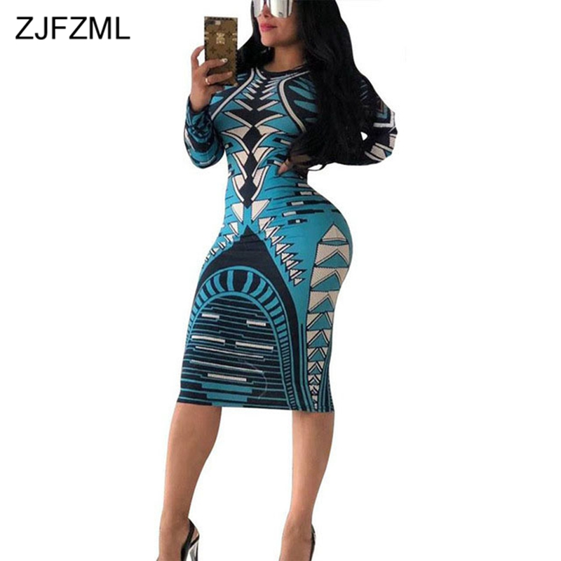 ZJFZML Colorful Printing Sexy Pencil Dress Women Scoop Neck Long Sleeve Club Party Vestidos Elegant Slim Fit Knee-Length Dresses