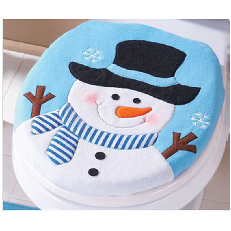 1Set Blue Fancy Snowman Toilet Seat Cover And Rug Bathroom Set Christmas  Decoration PC881652(China