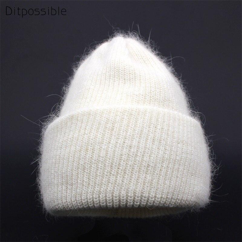 Ditpossible piel de conejo caliente gorros sombreros mujeres niñas skullies  Bonnet invierno sombrero gorros casquillos femeninos 23fbb6b5413