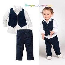 Yeni stil çocuk giyim setleri erkek giysileri erkek gömlek + yelek + pantolon 3 adet erkek beyefendi yelek çocuk giyim setleri 5 takım/grup