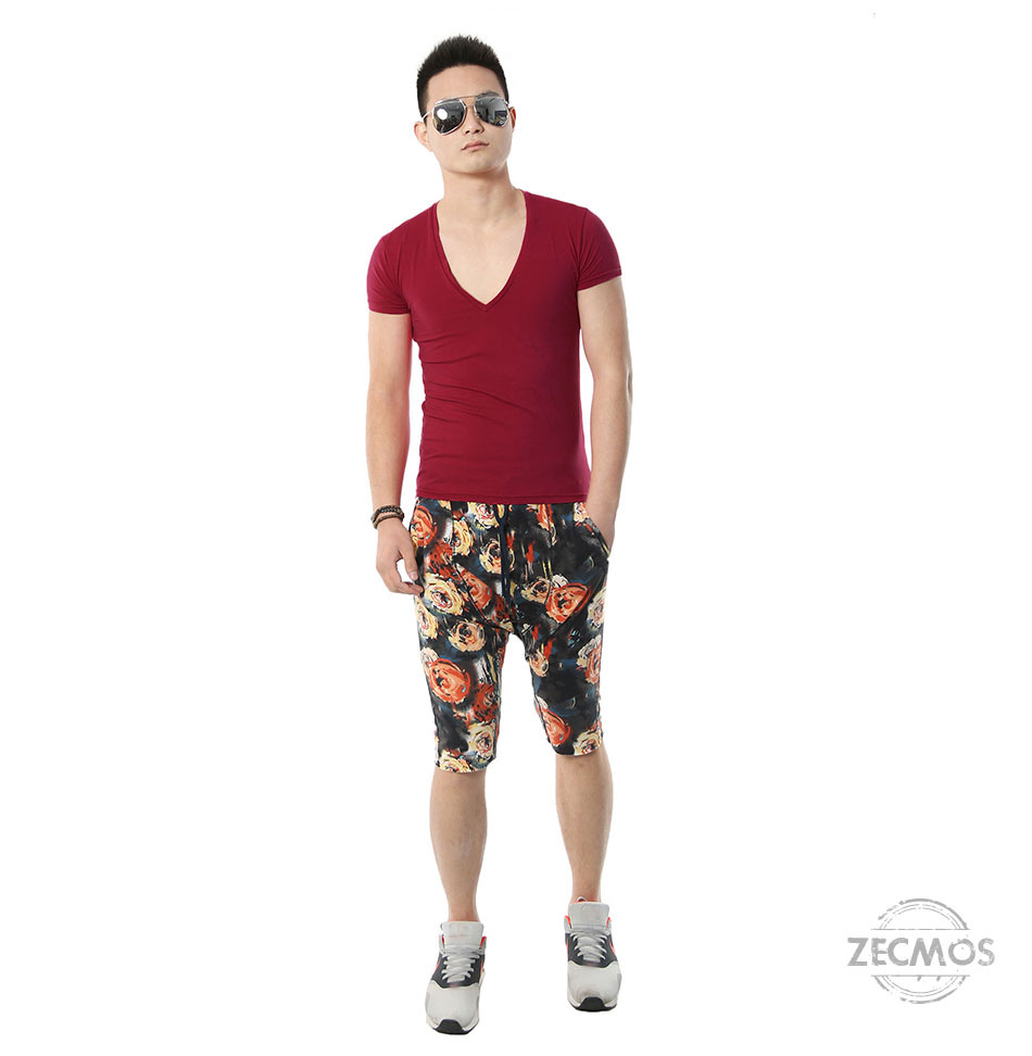 Zecmos Deep V Neck Sexy Men T-Shirt Vintage Short Sleeve Solid Color Muscle Fit T Shirt Men Top Tees Fashion 16