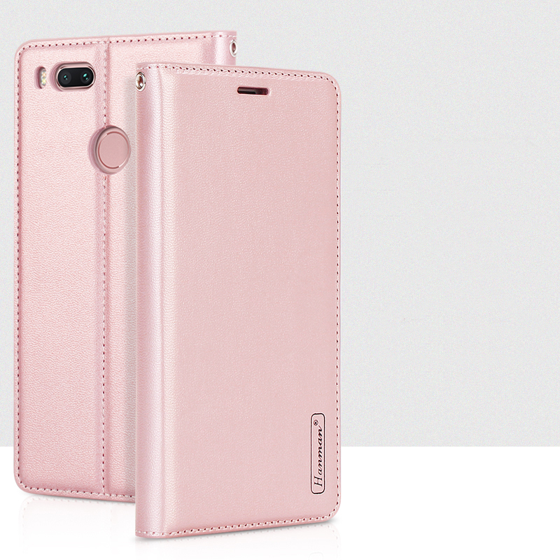 Hanman For Xiaomi A1 Luxury Leather Wallet Case Business Style Silicon Back Cover with Magnetic Close Card Slot for Xiaomi Mi A1