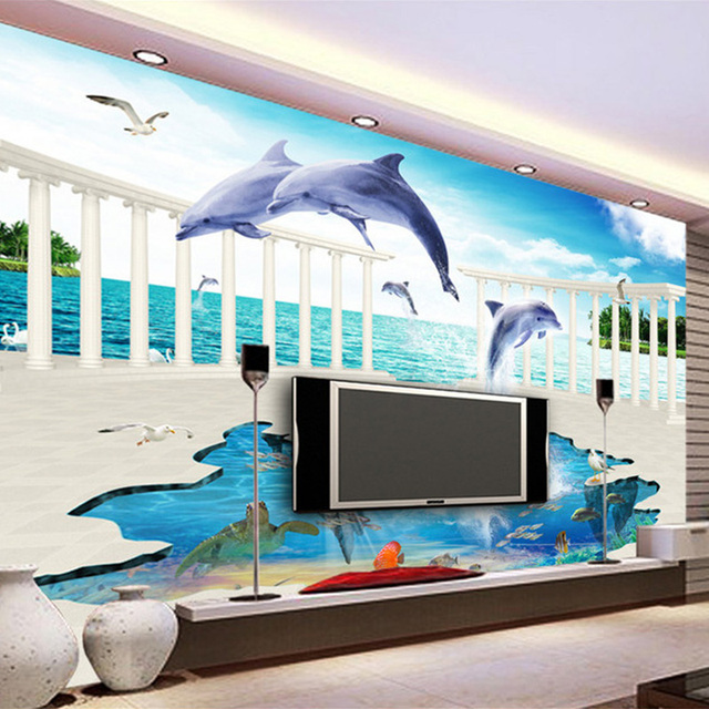 Photo Wallpaper Custom 3D Wall Mural Creative Underwater World Jumping Dolphin Backdrop Paper Living Room