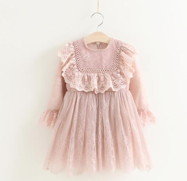 5893270e6 New Baby Girls Lace Ruffles Long Sleeve Dresses