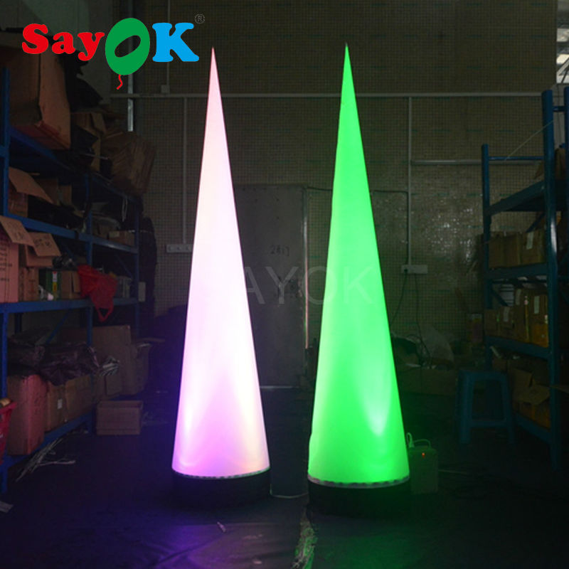 Free Shipping Inflatable Cone Inflatable Traffic Cone Wedding Decoration with Colors Changing Lights