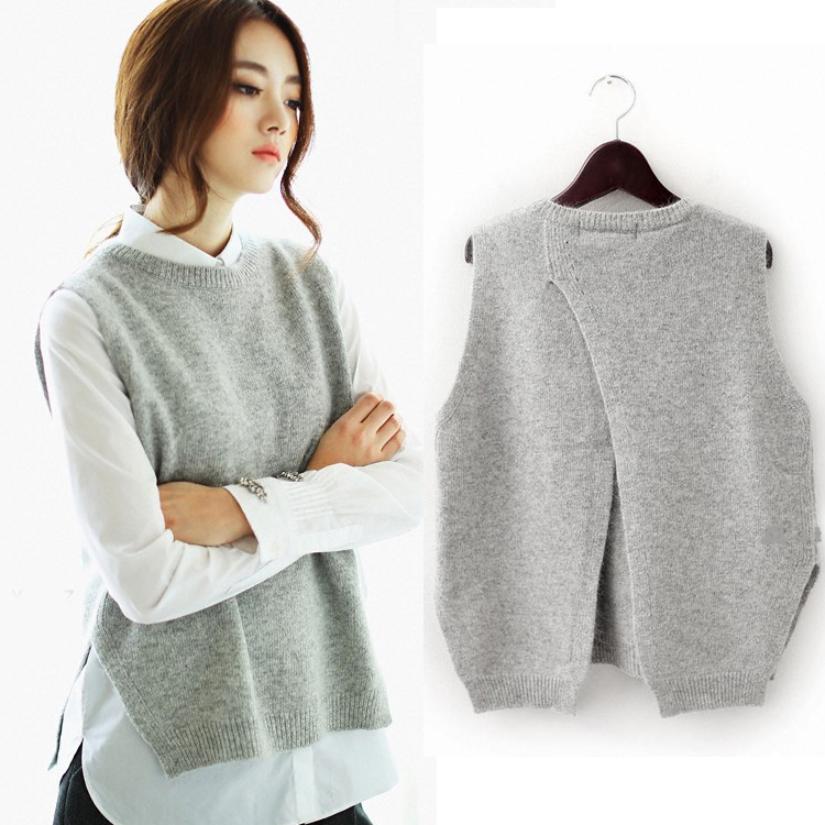 2015 Spring Loose Big Yards Female Hedging Sweater Vest Sweater Vest Round Neck Wool Vest Waistcoat
