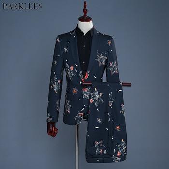 Fashion Black Print Suit Blazer Men 2018 Brand New Nightclub Prom 2 Piece Suit (Jacket+Pants) Wedding Groom Tuxedo Suit Ternos