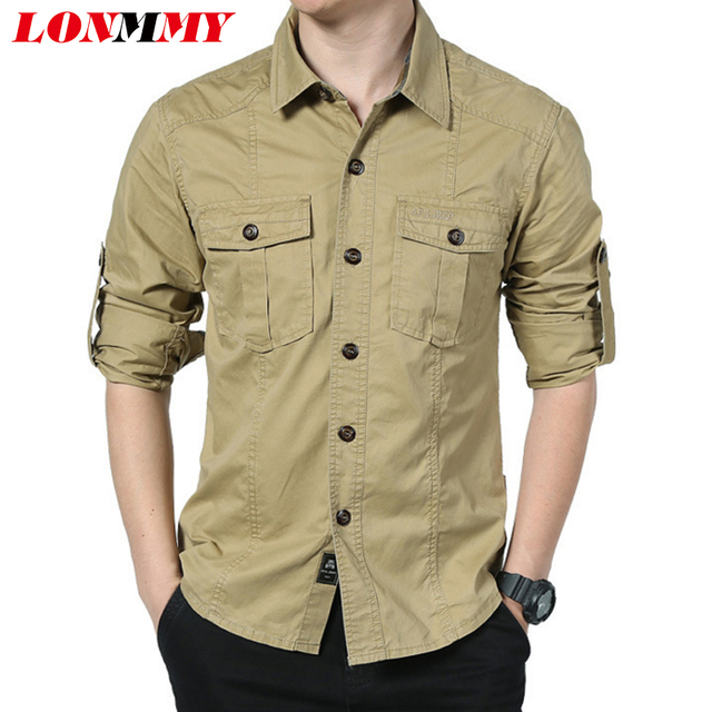 Lonmmy Men Shirt Clothes Cotton Mens Dress Shirts Long Sleeve Shirt Men Rolled Up Sleeves Imported