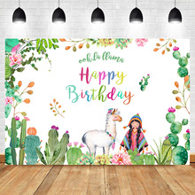 NeoBack Mexican Alpaca Flower Birthday Party Photo Backdrops Cactus Little Girl Background Photography