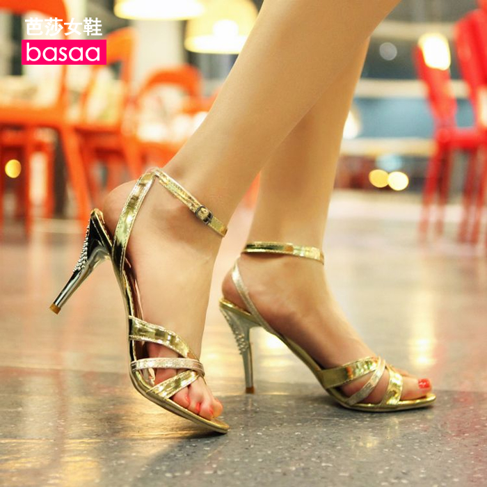 Sexy open toe high heels ultra thin heels sandals female shoes plus size 40 41 42