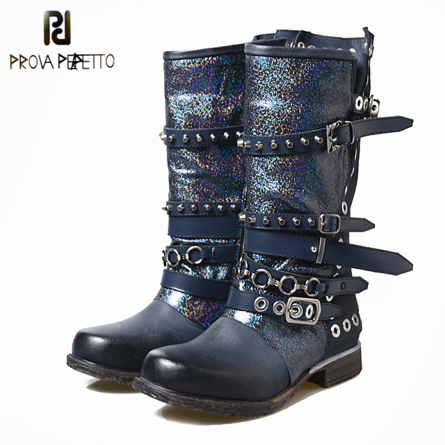 aa6a4dd16229e Prova Perfetto Amazing Quality Cow Leather Women's Winter Med Boots Shiny Leather  Rivets With Belt Buckle Mid-calf Boots Female