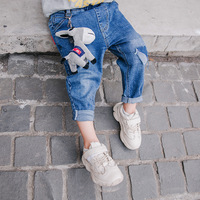2019 spring new boy cartoon pattern jeans fashion casual trousers children's clothing boys pants