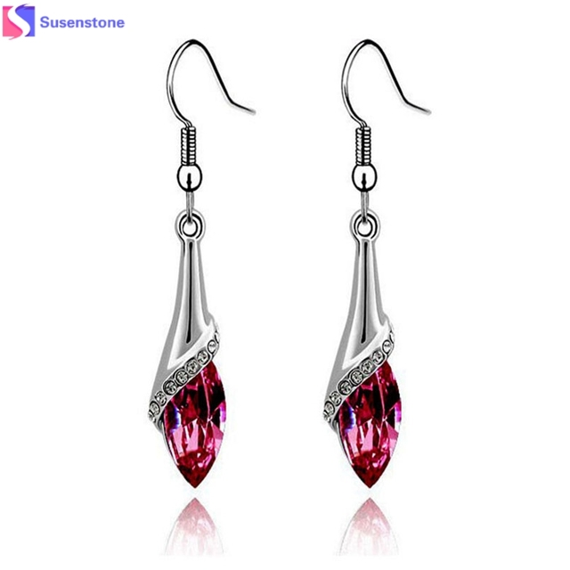 1 Pair Earrings For Women Lady Crystal Marquise Cut Dangle Wedding Teardrop Gift