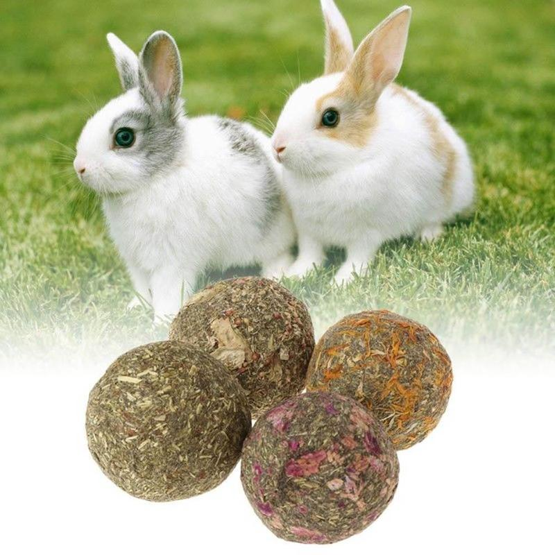 2PCS Pet Ball Grass Hamster Chew Teeth Grinding Grass Play Toys For Pig Rabbit Chinchilla Small Animals Supplies