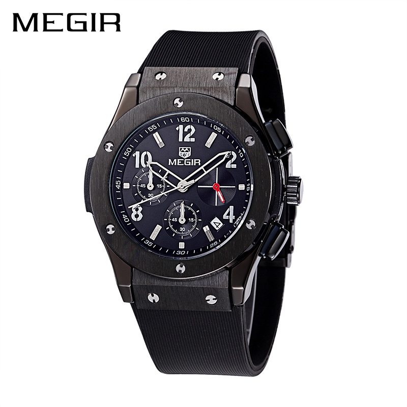 MEGIR Men Watch Quartz Sport Watch Casual Chronograph Watches Clock Men Erkek Kol Saati Military Watch Relogio Masculino 3002 megir clock men relogio masculino top brand luxury watch men leather chronograph quartz watches erkek kol saati for male