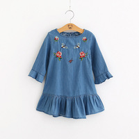2018 Spring New Baby Girls O Neck Flowers Embroidery Dresses Kids Ruffles Short Sleeve Girls Princess