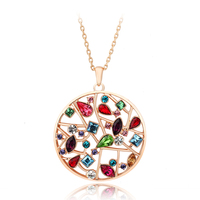 ZHOUYANG Top Quality Multi Flowers Necklace Rose Gold Color Fashion Pendant Jewelry Made with Crystal Wholesale ZYN048 ZYN049
