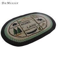 DeMissir 60x90cm Vintage Braided Linen Oval Carpet Indian Floor Door Mat Living Room Anti Slip Home
