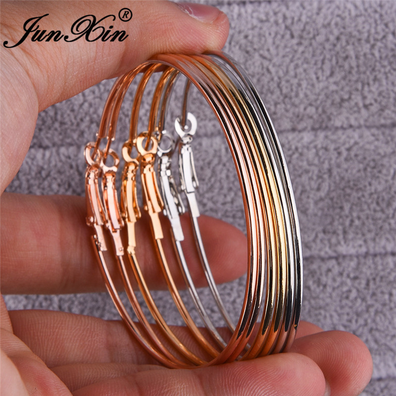 JUNXIN 6pcs Big Circle Hoop Earrings Sets For Women Retro Rose Gold Metal Large Statement Earrings For Women Minimalist Jewelry