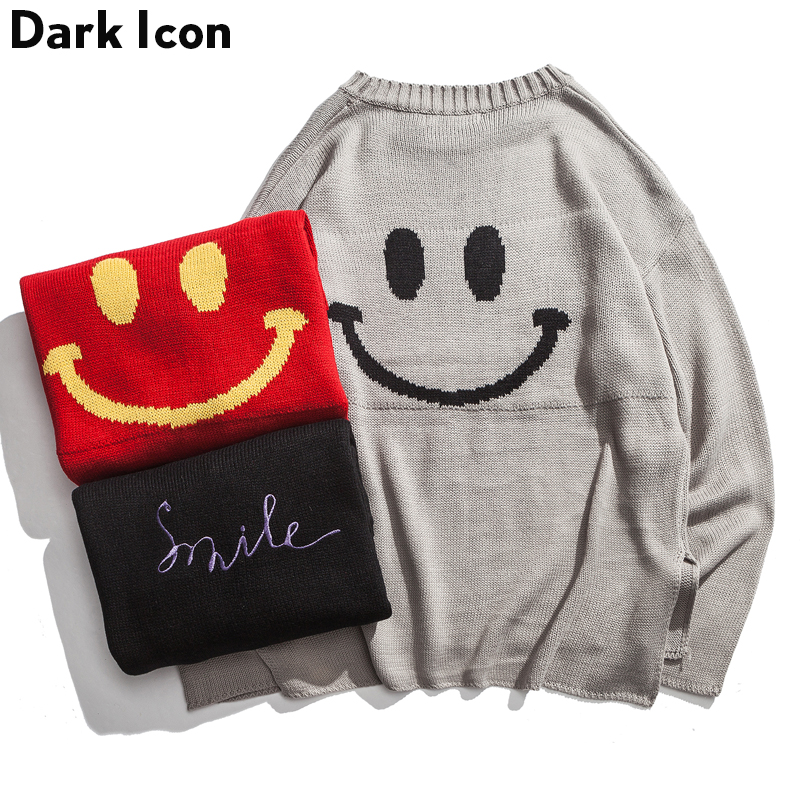 Men's Sweater Loose-Style Embroidery Long Smile Front-Short-Back 3colors