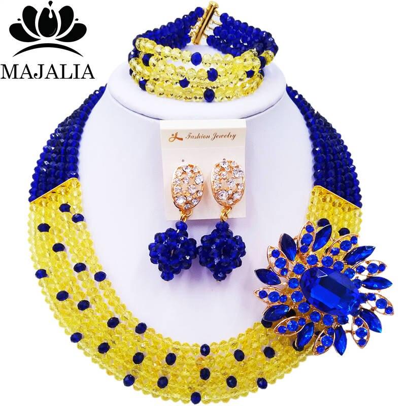 Majalia Romantic African Jewelery Set Yellow royal blue Crystal Beads Bride Jewelry Nigerian Wedding Jewelry Sets 5CC0021Majalia Romantic African Jewelery Set Yellow royal blue Crystal Beads Bride Jewelry Nigerian Wedding Jewelry Sets 5CC0021