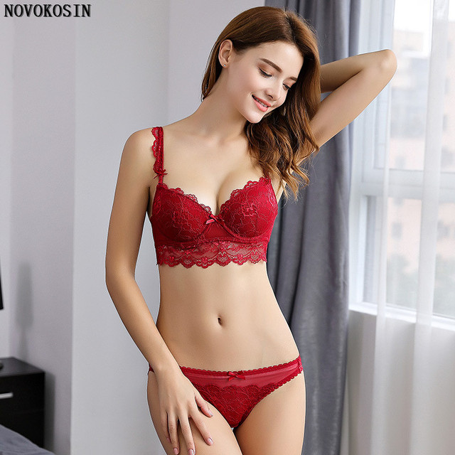 c8a572940e B38 2018 Plus Size Thong Bra Set Push Up Lace Women Underwear Panties Set  Soft Sexy Solid G String Embroidered Bra Brief Sets