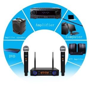 Image 4 - LO U02 UHF ארוך טווח כפול ערוץ 2 כף יד מיקרופון משדר מקצועי קריוקי UHF מיקרופון אלחוטי מערכת