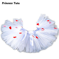 Girl Valentine S Day Tutu Skirt White Fluffy Knee Length Ball Gown Party Tutu Skirts With