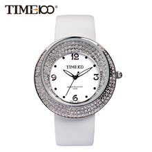 Fashion Women's Brand Watches White Leather Strap Diamond Quartz Watch Original Waterproof Ladies Wrist Watch W019