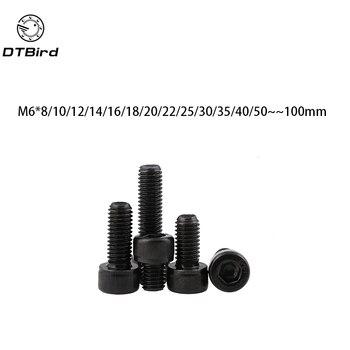 DIN912 rosca métrica M6 negro grado 12,9 aleación de acero hexagonal tornillo de cabeza hueca tornillos M6 * (8/ 10/12/14/15/16/18/20/22/25/30 ~ 100) mm